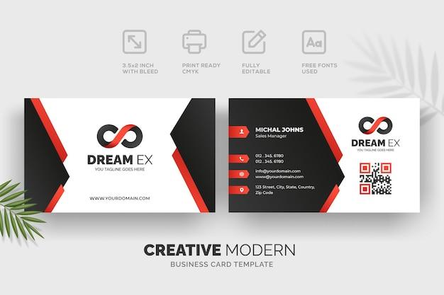 Modèle de carte de visite moderne créative avec des détails rouges et noirs