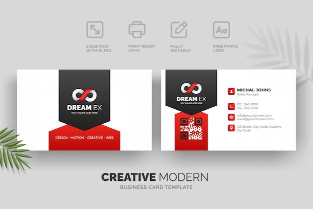 Modèle de carte de visite moderne et créative avec des détails rouges et noirs