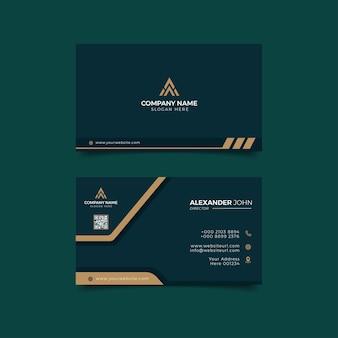 Modèle de carte de visite moderne feuille d'or élégant entreprise professionnelle
