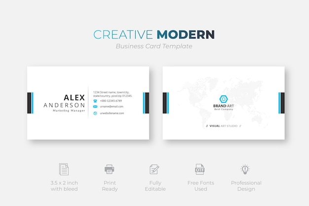 Modèle de carte de visite moderne minimaliste professionnel