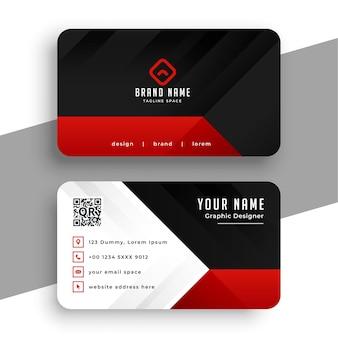 Modèle de carte de visite moderne rouge et noir