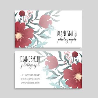 Modèle de carte de visite, motif floral fond