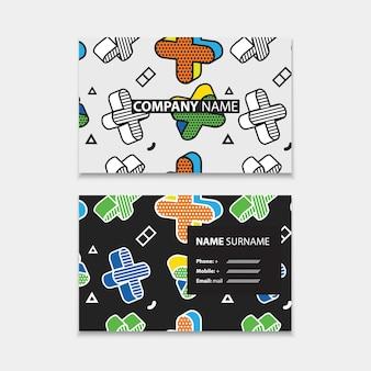 Modèle de carte de visite avec motif transparent avec des graphiques 3d dans un style pop art, modèle horizontal, mise en page en taille rectangle.