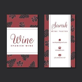Modèle de carte de visite avec motif vin