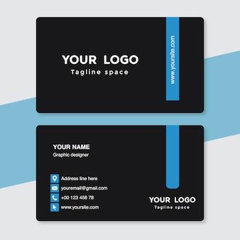 Modèle de carte de visite noir et bleu