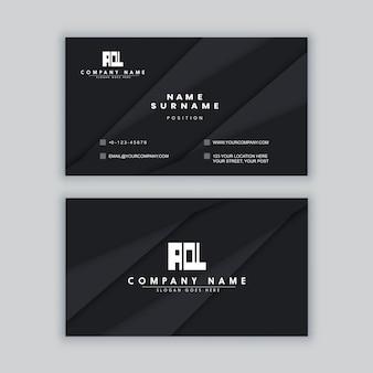 Modèle de carte de visite noir minimaliste élégant