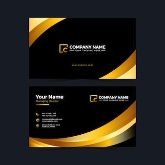 Modèle de carte de visite noir et or design minimalis