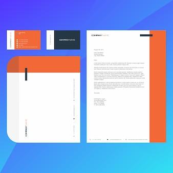 Modèle de carte de visite, papier à en-tête et enveloppe d'entreprise moderne