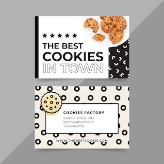 Modèle de carte de visite avec photo de cookies