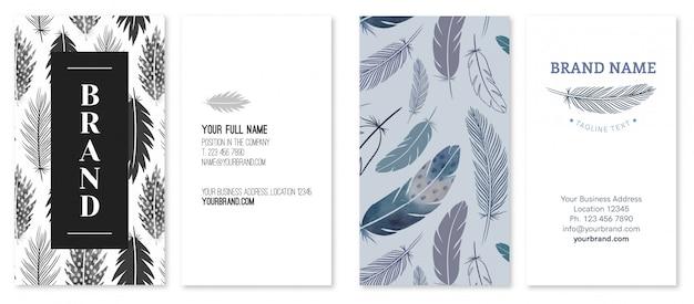 Modèle de carte de visite avec plumes et thème de la nature
