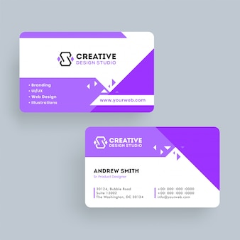 Modèle de carte de visite pour le studio de design créatif ou conception de carte de visite