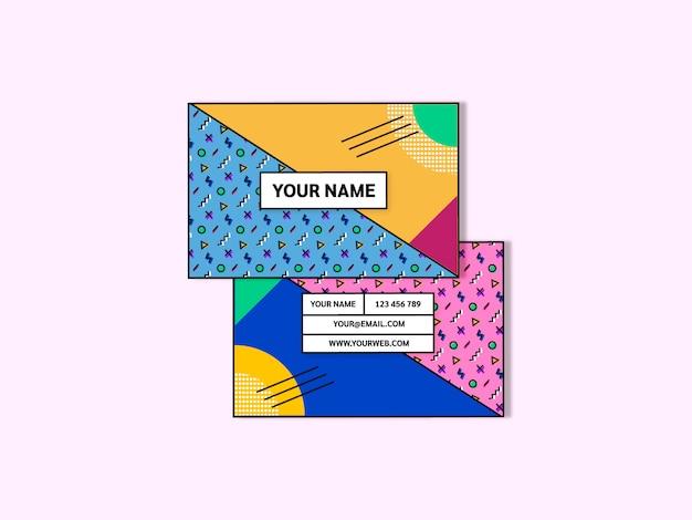 Modèle de carte de visite pour le style memphis