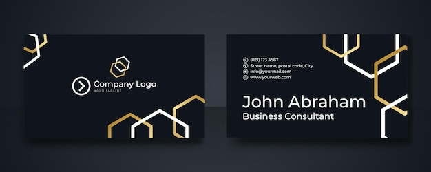 Modèle de carte de visite premium doré géométrique. modèle de conception de carte de visite de luxe noir et or avec des lignes géométriques art déco or.