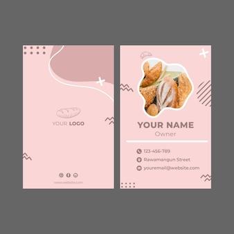 Modèle de carte de visite publicitaire de boulangerie