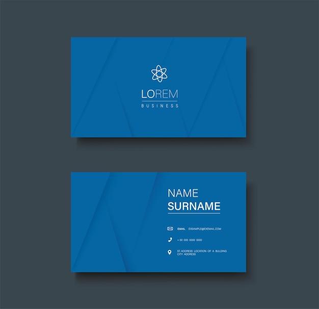 Modèle de carte de visite recto verso de couleur bleue