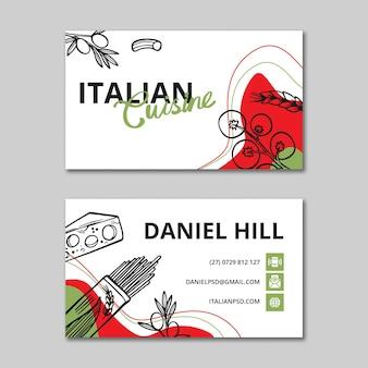 Modèle de carte de visite recto-verso de cuisine italienne