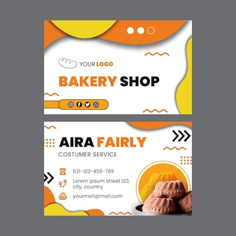 Modèle de carte de visite recto-verso horizontal de pain