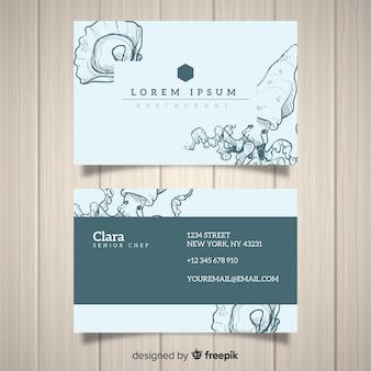 Modèle de carte de visite restaurant dessiné à la main