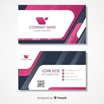 Modèle de carte de visite rose et gris avec logo