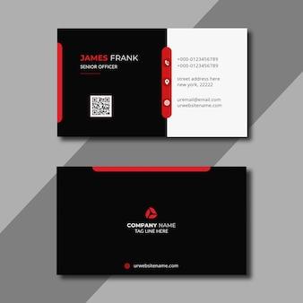 Modèle de carte de visite rouge et blanc
