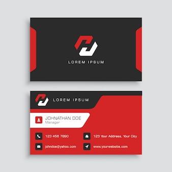 Modèle de carte de visite rouge et noir
