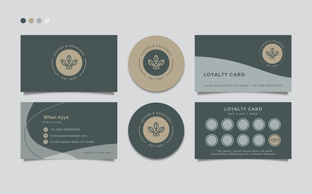 Modèle de carte de visite simple nettoyer avec le thème du café