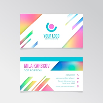 Modèle de carte de visite de style dégradé coloré