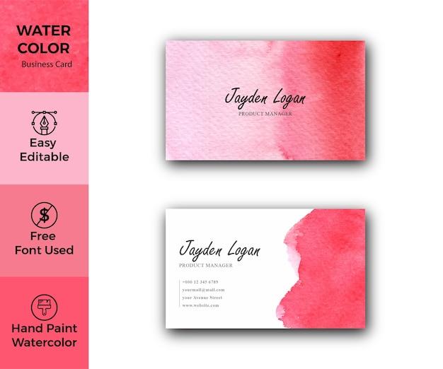 Modèle de carte de visite de taches d'aquarelle rouge