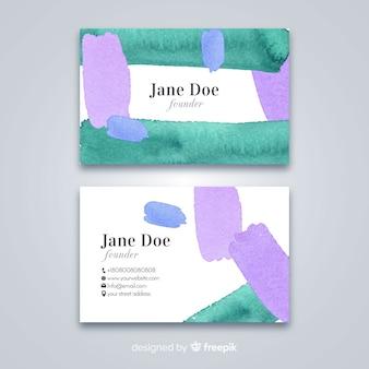 Modèle de carte de visite taches d'aquarelle
