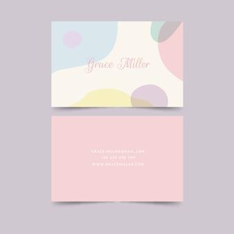 Modèle de carte de visite de taches de couleur pastel