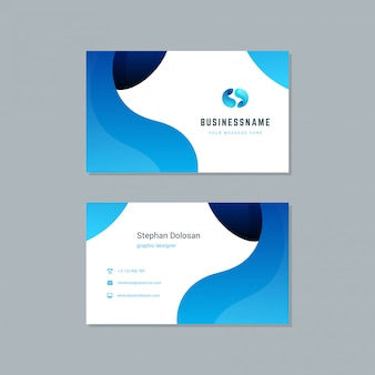 Modèle de carte de visite tendance couleurs bleues