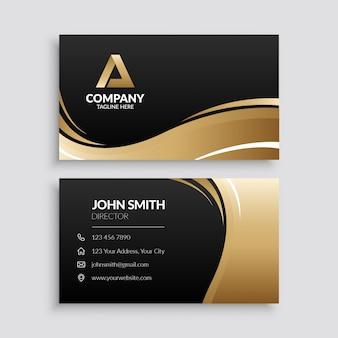 Modèle de carte de visite de vague d'or abstrait