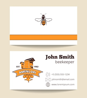 Modèle de carte de visite vecteur apiculteur