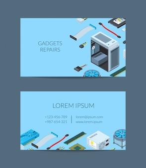 Modèle de carte de visite de vecteur d'appareils électroniques isométriques