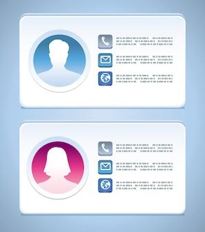 Modèle de carte de visite vector avec profils homme et femme