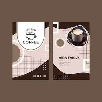 Modèle de carte de visite verticale de café