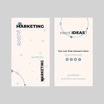 Modèle de carte de visite verticale commerciale marketing