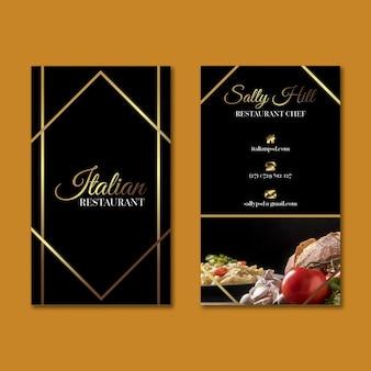 Modèle de carte de visite verticale de cuisine italienne de luxe