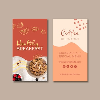 Modèle de carte de visite verticale petit-déjeuner sain