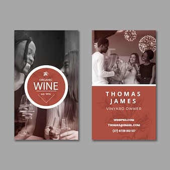 Modèle de carte de visite de vin avec photo