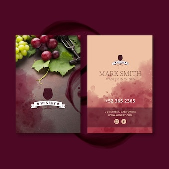 Modèle de carte de visite de vin