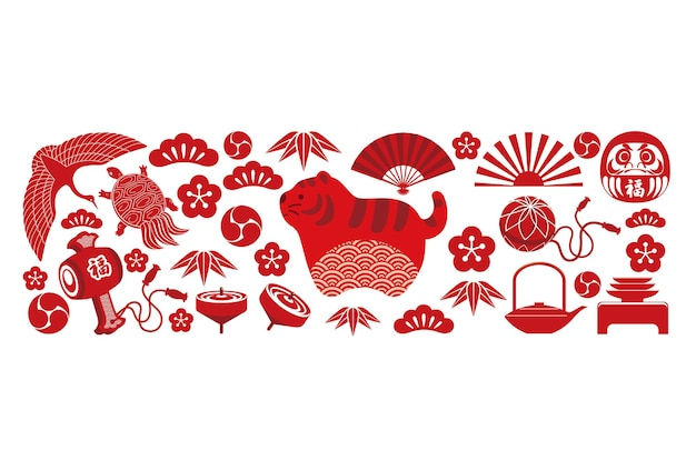 Modèle de carte de voeux de l'année du tigre avec des breloques porte-bonheur japonais traduction de texte fortune