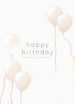 Modèle de carte de voeux d'anniversaire en ton or blanc