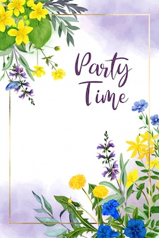 Modèle de carte de voeux aquarelle fleurs de champ, jaune et violet