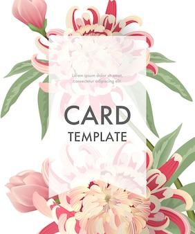 Modèle de carte de voeux avec des asters roses et un cadre transparent sur fond blanc.