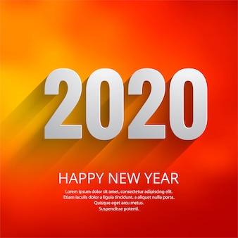 Modèle de carte de voeux de beau texte 2020 nouvel an festival