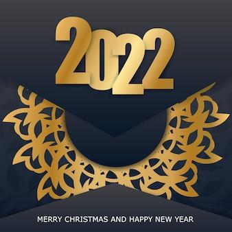 Modèle de carte de voeux de bonne année 2022 couleur noire avec motif or vintage