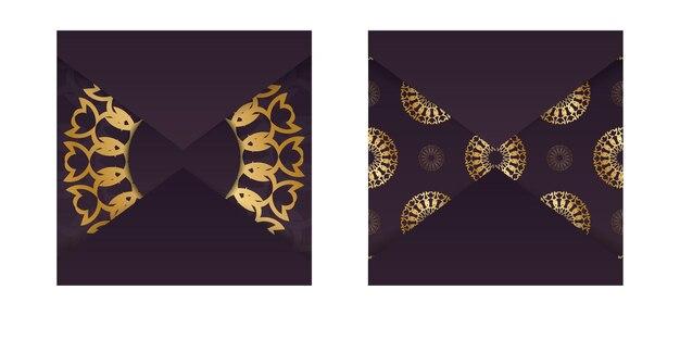 Modèle de carte de voeux bordeaux avec ornement abstrait en or pour votre conception.