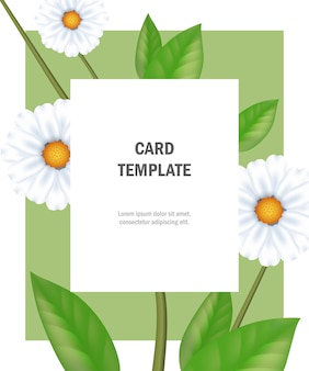 Modèle de carte de voeux avec camomille sur cadre vert. fête, événement, célébration.