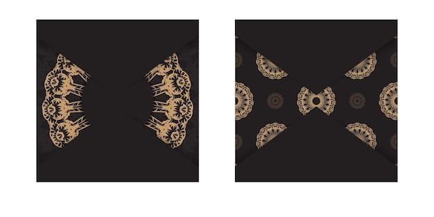 Modèle de carte de voeux de couleur noire avec ornement grec marron